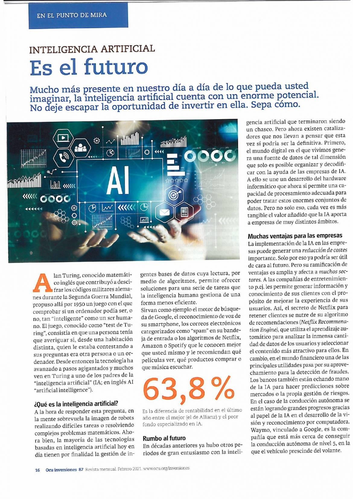 FONDOS DE INVERSION EN I.A., el favorito segun la revista OCU.